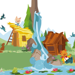 the three little pigs have built the thatched cottage and the wooden house, in the background a mountain landscape with a waterfall, a pond, frogs, squirrels and butterflies