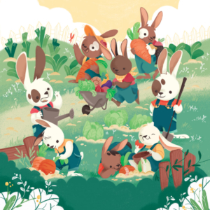 8 bunnies work in the garden there are many vegetables