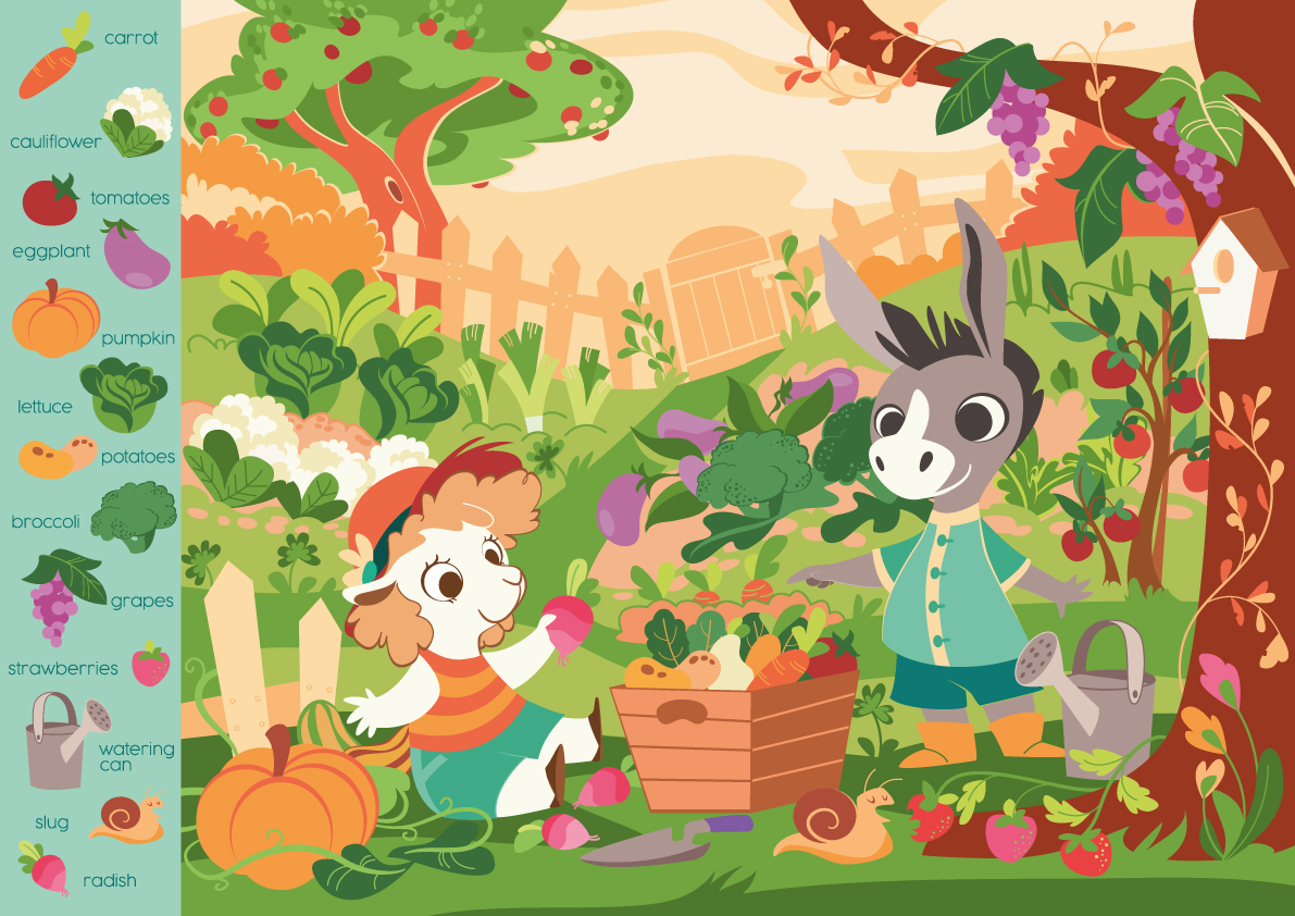 a sheep and a donkey play together in a vegetable garden. In the garden we can find lots of vegetables and fruit.