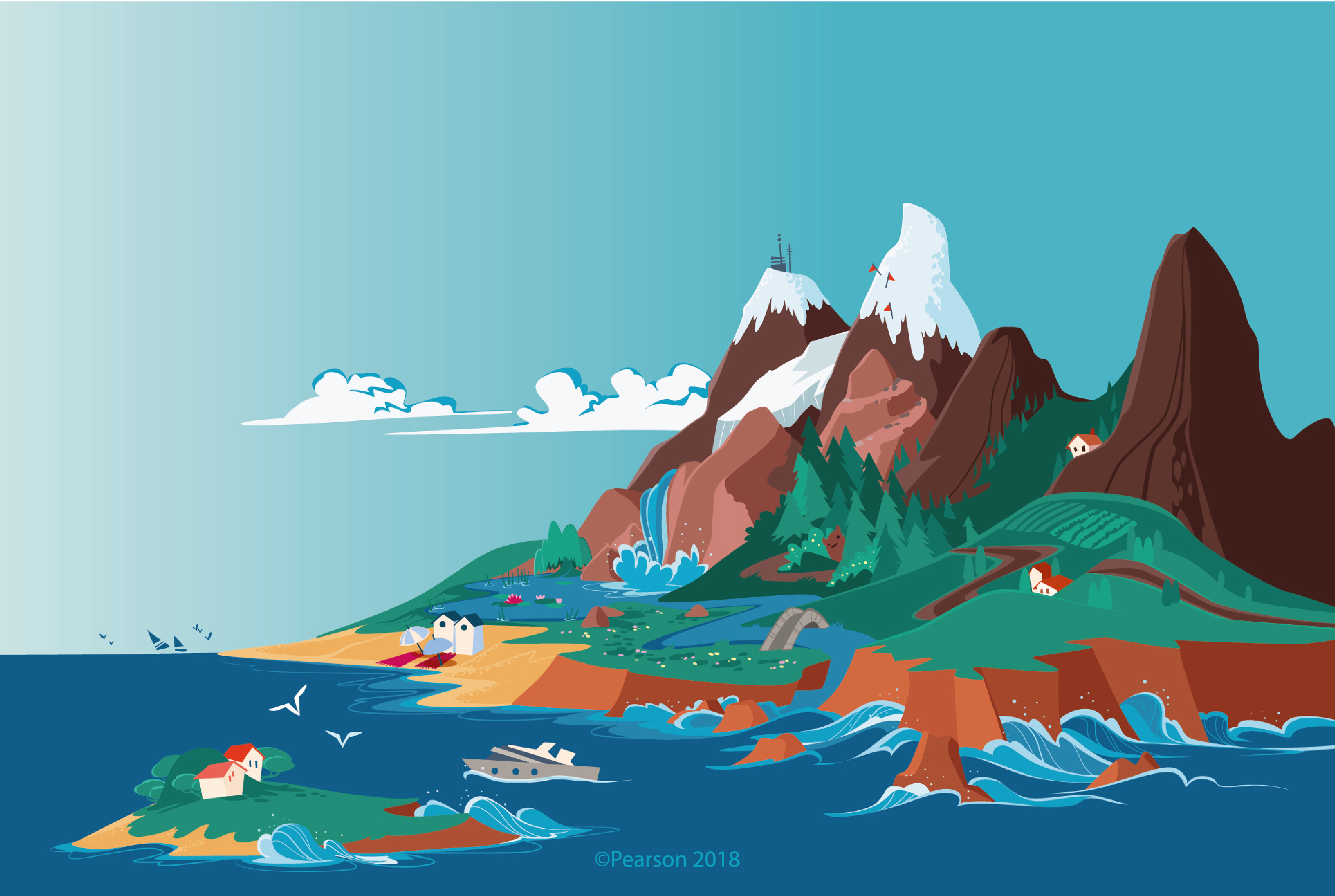 illustration of the possible landscapes: mountains, ski resorts, hills, woods and lakes, beach and country villages, a small island
