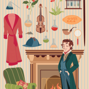 Sherlock Holmes in front of the fireplace and in the armchair, with all the objects that characterize it: pipe, stills, newspaper, magnifying glass, hat, violin, robe