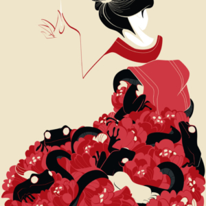 a geisha holding a needle in her hand, peonies and frogs come out of her dress
