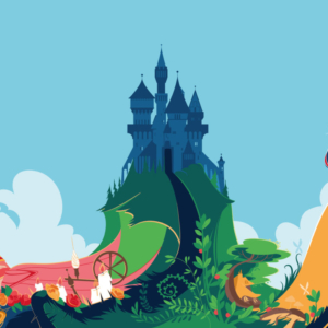 """Aurora, the princess of the fairy tale """"Sleeping Beauty"""", sleeps among the brambles and candles; White snow tine in an apple hand. In the scene the castle in the distance, the forest and the house of the seven dwarfs"""