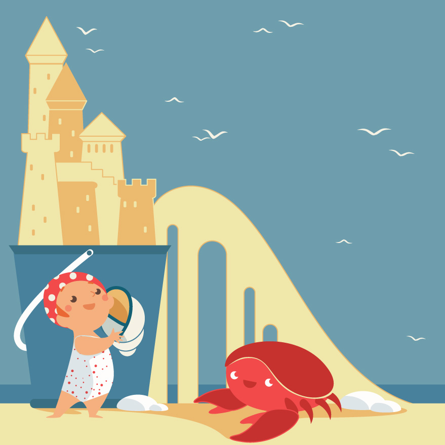 little baby girl playing on the beach with sand castles and a crab