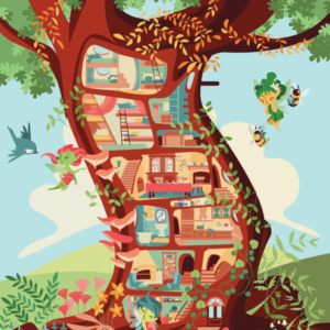 An enchanted tree where the fairies live, in the illustration you can see all the rooms that make up the fairy house