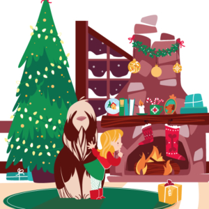 a little girl with her dog finds a Christmas present, in front of the burning fireplace, the Christmas tree