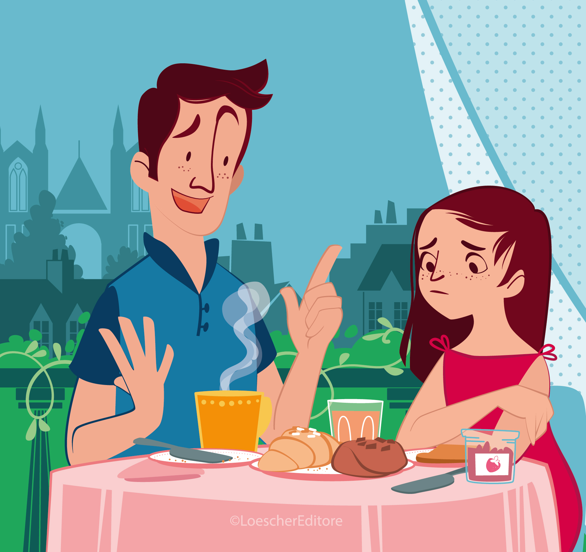 father and daughter have breakfast on the terrace, croissants, jams and many good things on the table