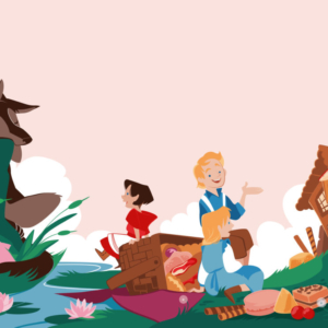 illustration with Little Red Riding Hood watching the wolf sleep, Hansel and Gretel talking in front of the marzipan house
