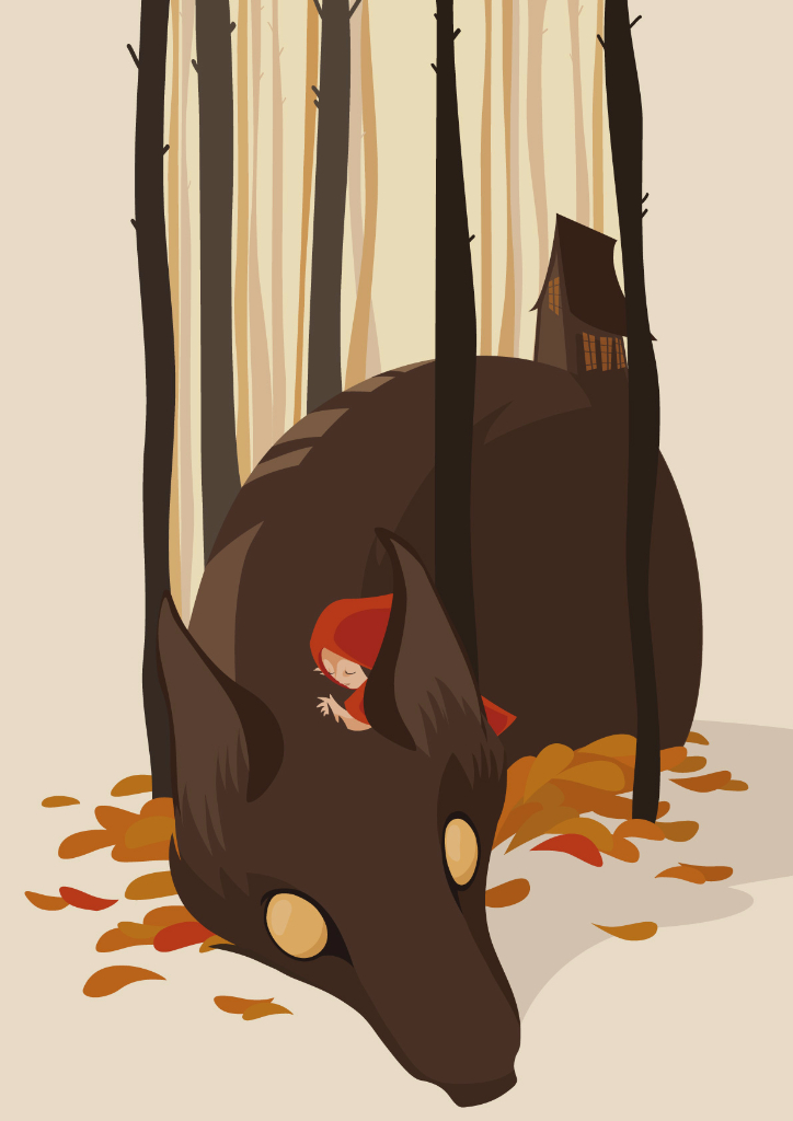 surreal image in which little red cap embraces the wolf, behind the forest and a small house