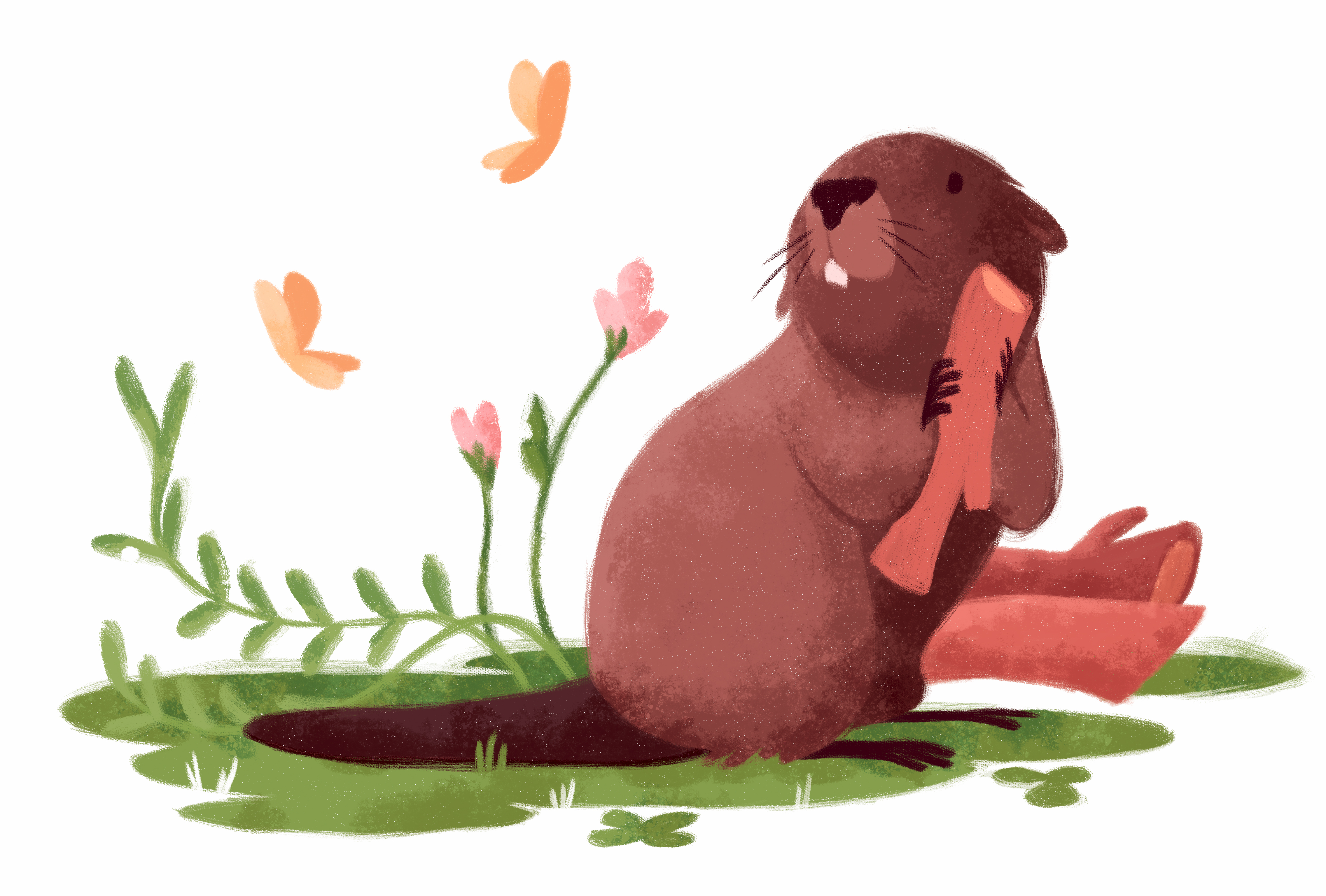 tender beaver in the woods with a small butterfly