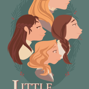The profiles of the girls in the story Little Women, Jo looks at the observer while the others look in front of them