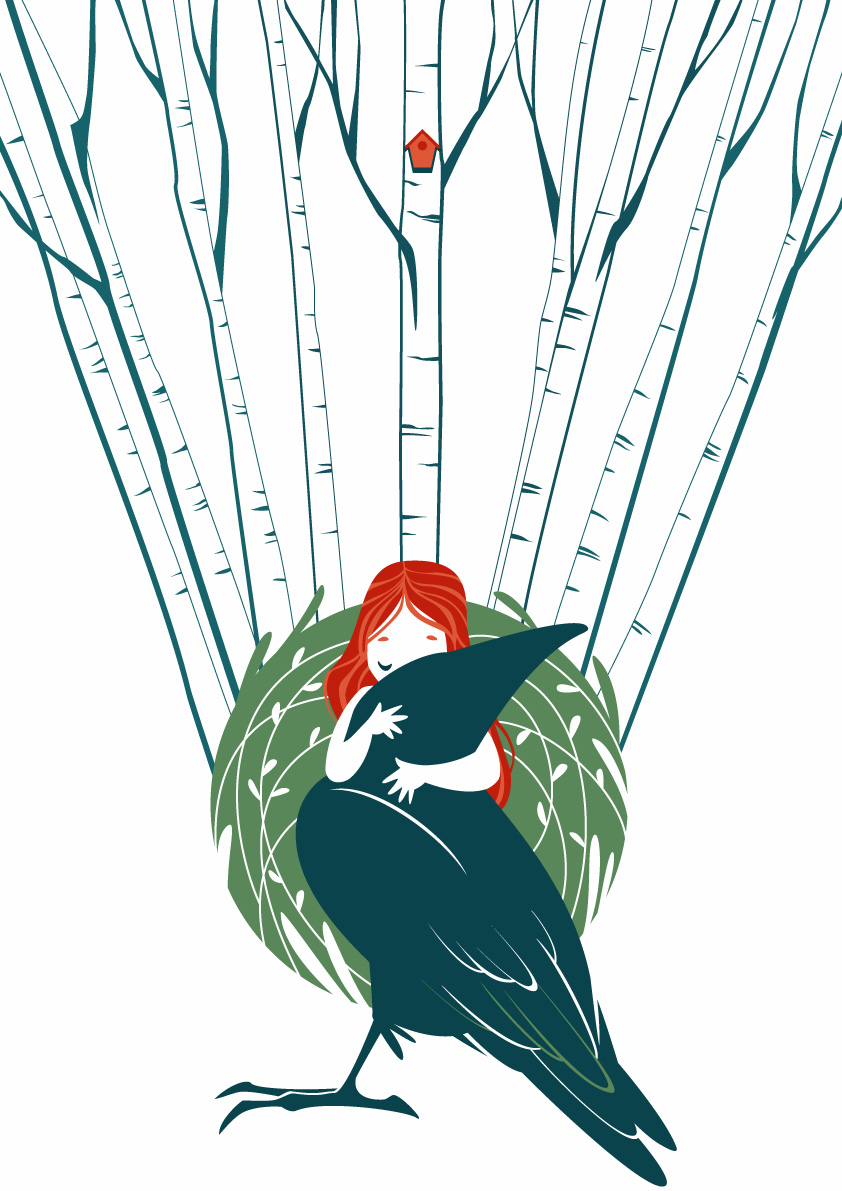 Forest spirit that embraces a crow, behind them a birch forest and a small house hanging high above