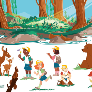 forest with pond, it's a beautiful day: there are children playing, some draw or discover forest animals