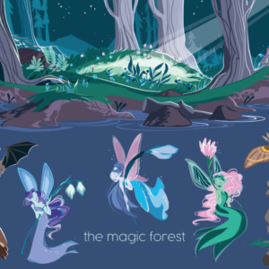 magic forest at night: there are fairies and nocturnal animals.