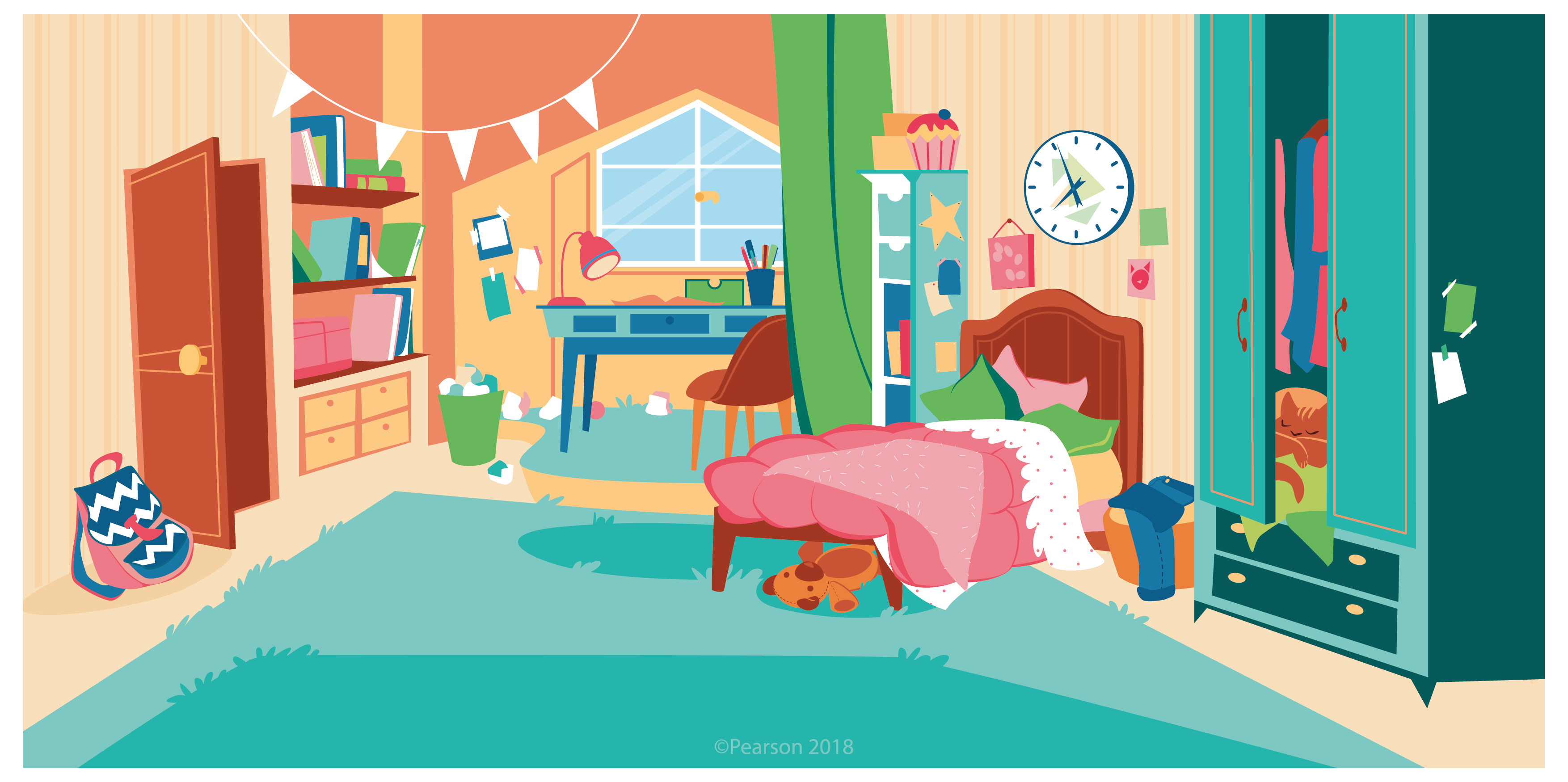 illustration of a girl's bedroom: comfortable bed, a cat in the wardrobe, a backpack on the floor, a desk under the window