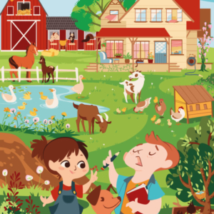 Two children, with their dog, in their country home: there are goats, chickens, a cat sleeping on the veranda, ducklings swimming in the pond and horses in the room