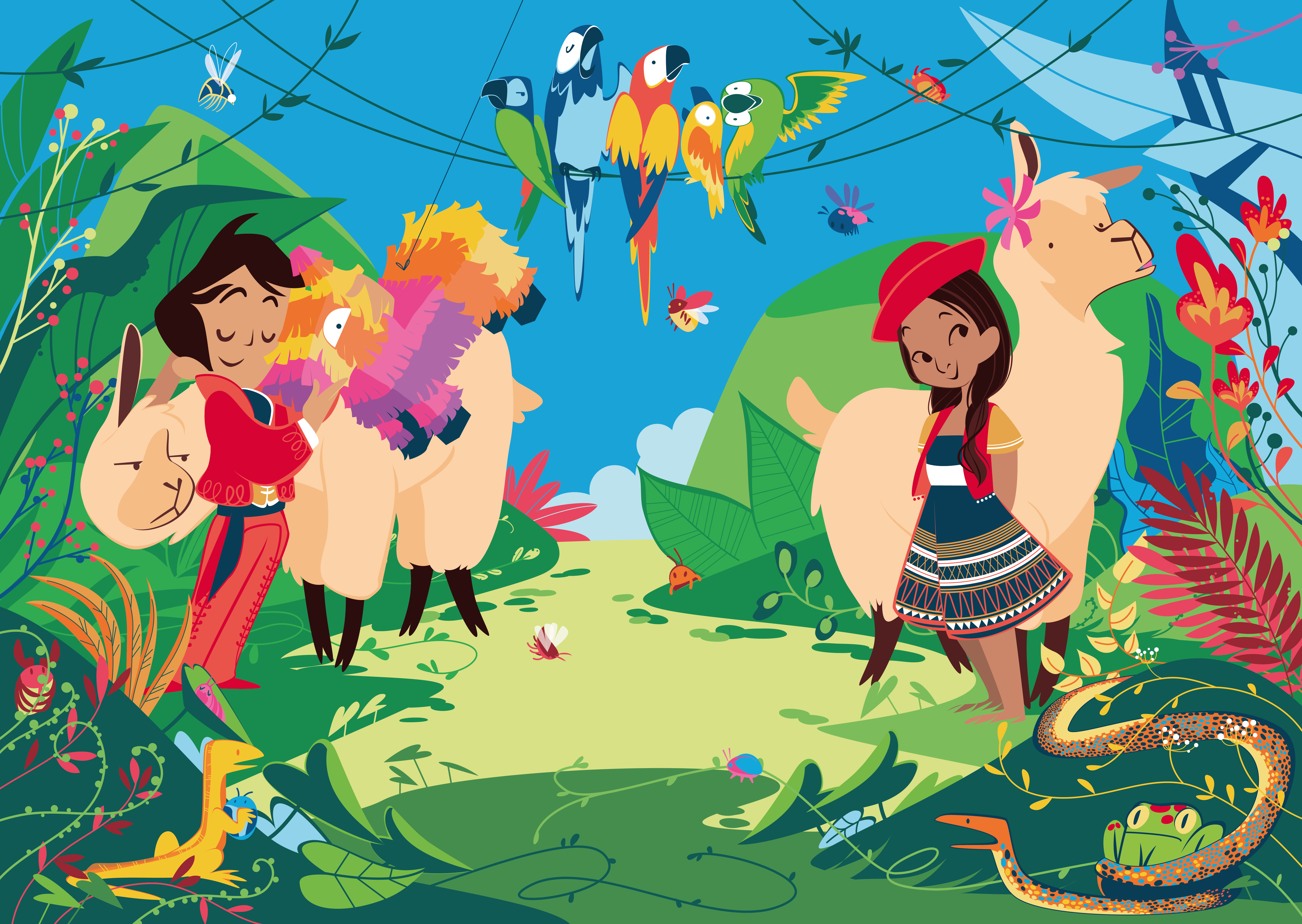 scene with two children: the child on the left is Mexican, has a pot; the girl on the right has a red hat and she is of Peruvian ethnicity. Around a tropical forest with colorful parrots, strange insects and hungry snakes