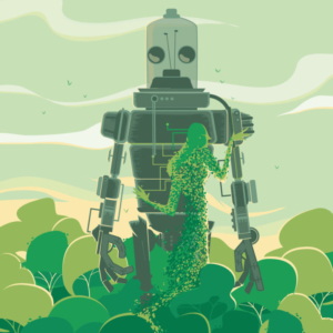 a large robot in a pristine forest is embraced by mother nature