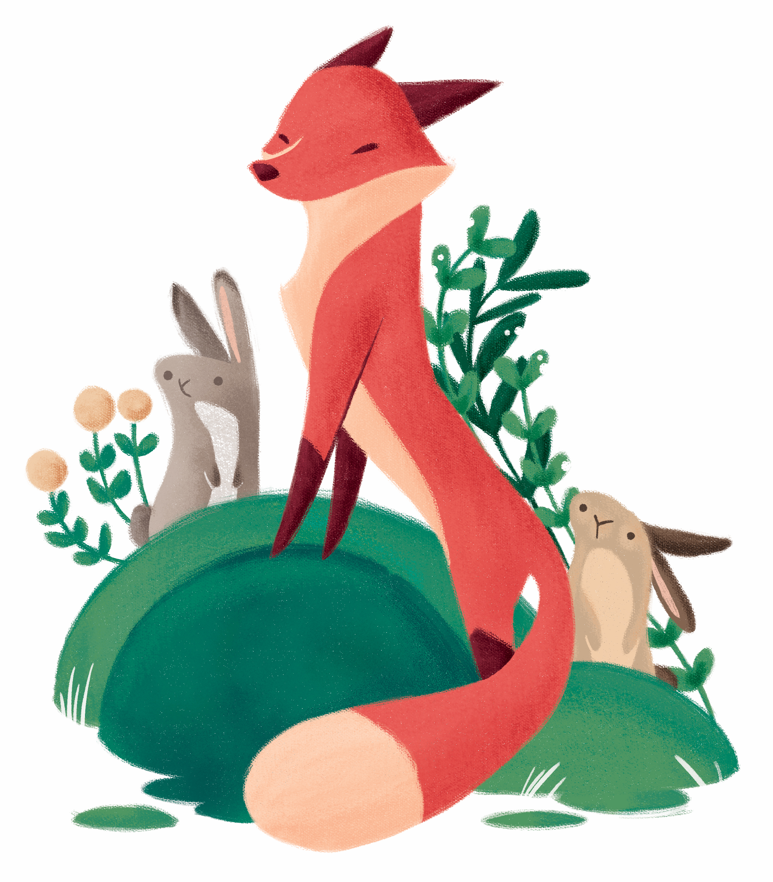 a fox with two cute bunnies in the woods