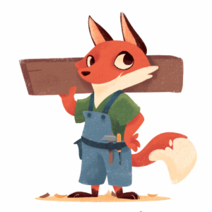 small felegname fox, with overalls and tools
