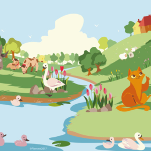 in a country landscape, the cat in boots asks his master for boots and a bag. In the landscape a mill and two cows, a small donkey and a small lake with swans