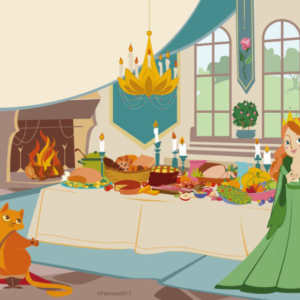 the puss in boots managed to get his master married to the princess. the scene takes place in the dining room of the castle there is a fireplace with a laid table