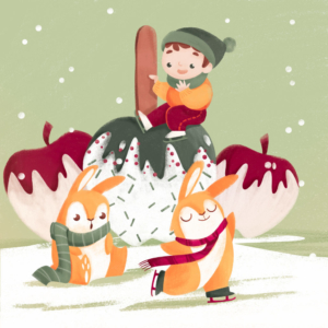little child skating on the ice with two bunnies