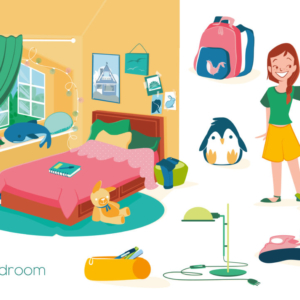 two twin girls in their little room with stuffed animals, school backpack and shoes under the bed