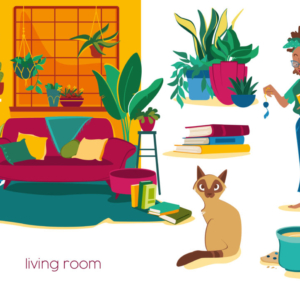 girl lover of plants in his living room with books and his Siamese cat