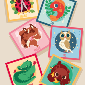six cards with six drawn animals: a raccoon bathing, a jumping fish, an owl in the night, a crocodile playing a guitar, a bear eating honey, a ladybird in the leaves