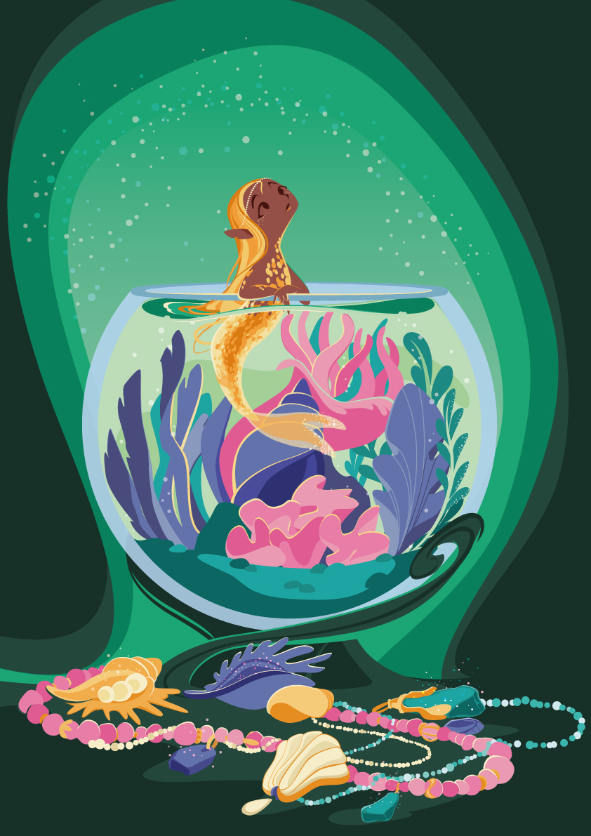 little mermaid held in a glass bubble, many jewels surround her
