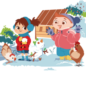 Two children play in the snow with chickens