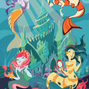 Four very different mermaids, with a castle behind them. A mermaid plays with a fish, another listens to the sound of a shell while the others wear makeup