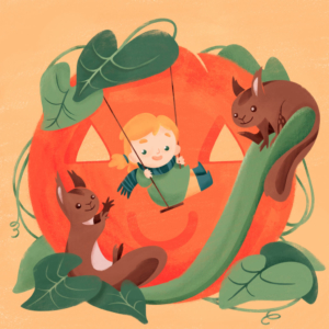 little girl playing on the swing with two squirrels, behind a giant halloween pumpkin
