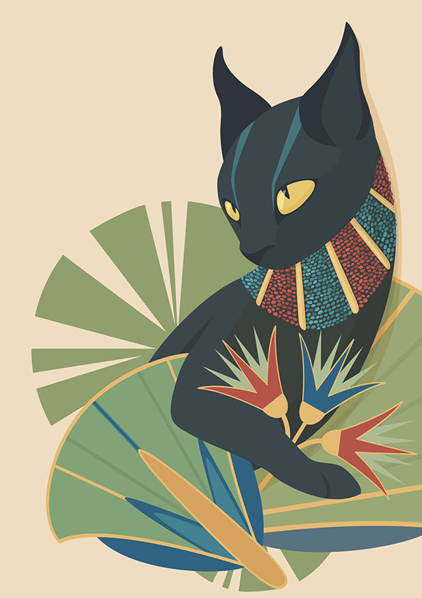 The deity Bastet, in the form of a cat, immersed in Egyptian plants and jewels