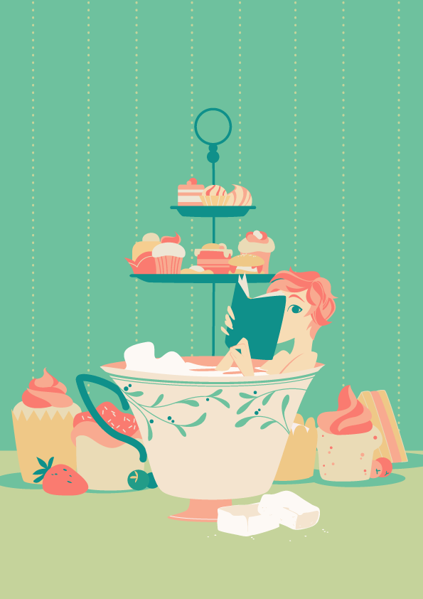 girl immersed in a giant tea cup. She reads a book, pastries, cakes and sandwiches around her.