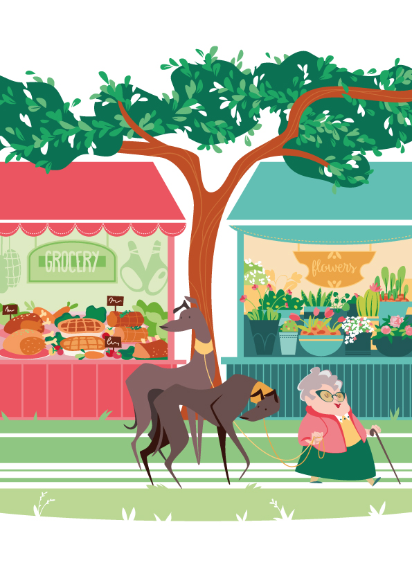 an old lady with her two greyhounds walks through the city, behind her a rotisserie (with roast chickens, roast beef and many delicacies) and a flower shop (with tulips, daffodils, buttercups)