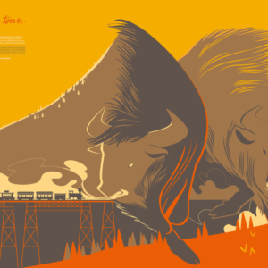 two large buffaloes run in the mountain valley at sunset, a small steam train snorts