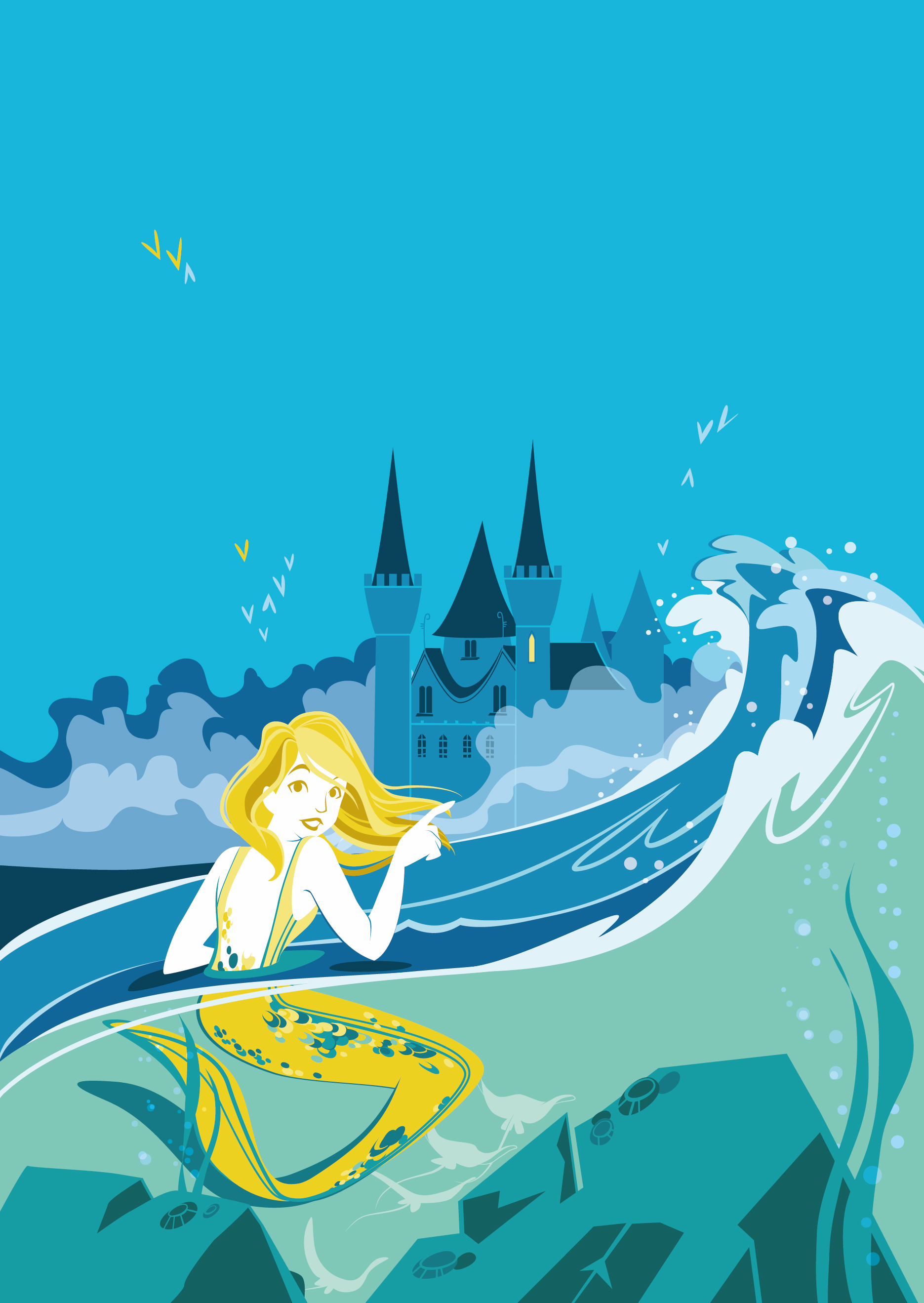 a mermaid discovers a magical and mysterious castle hidden by fog
