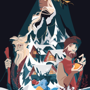 fantasy image of a snowy landscape with 4 very different characters: a woman at the top with dark skin and light hair, an elderly man on the left, leader of the community, a young male on the right with a gift in his hand and a small blue being with one skewer in hand, below